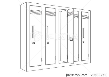School Locker With Open Door Outline Icon Stock Illustration 29899730 Pixta