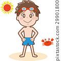 ภาพประกอบของเด็กผู้ชายที่มาที่ชายทะเล 29901800