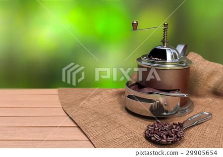 brown vintage coffee grinder with coffee beans 29905654