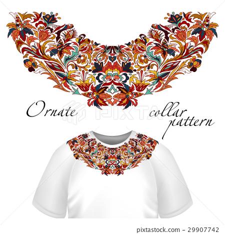 Neck print vector floral design. Fashion white 29907742