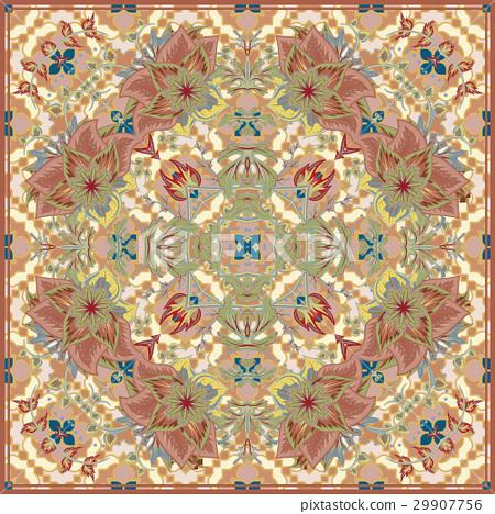 Bandana Print with tribal ethnic ornament, silk 29907756