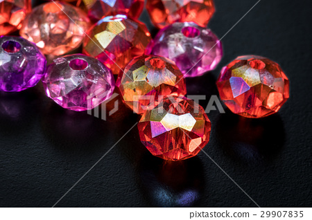 Colorful Beads on Black Background, Macro Shot 29907835