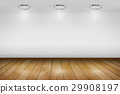 Spotlight room white wall with wooden floor. 29908197