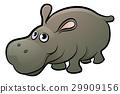 hippo, cartoon, animal 29909156