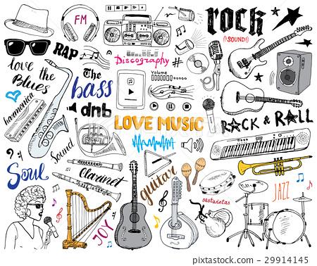 Music Instruments Set. Hand Drawn Sketch, Vector 29914145