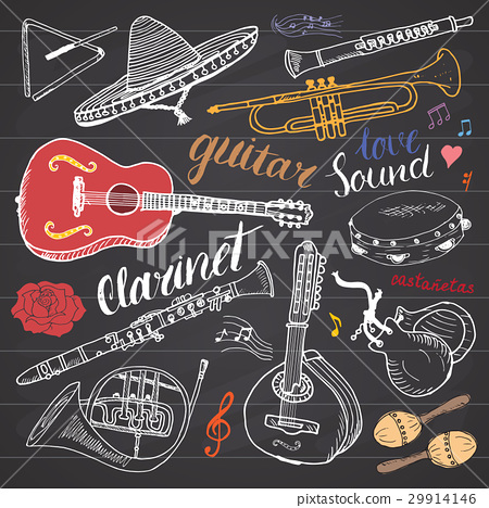 Music Instruments Set. Hand Drawn Sketch, Vector 29914146