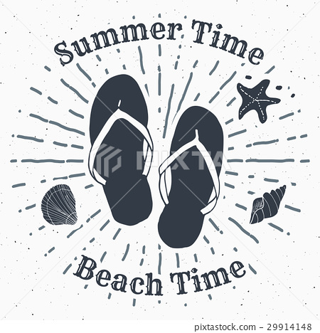 ad0193c4c Vintage Label Hand Drawn Flip Flops retro Vector - Stock ...
