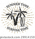 Vintage Label Palm trees and surfboards vector 29914150