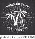 Vintage Label Palm trees and surfboards vector 29914169