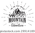 Mountains vintage label camping and hiking vector 29914189
