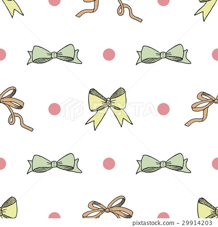 Seamless pattern with hand drawn bows vector 29914203