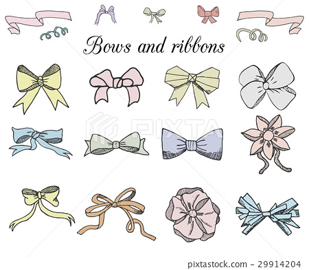Handdrawn ribbons and bows set vector illustration 29914204