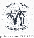 Vintage Label Palm trees and surfboards vector 29914213