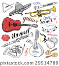 Music Instruments Set. Hand Drawn Sketch, Vector  29914789