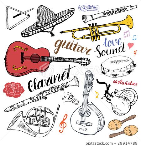 Music Instruments Set. Hand Drawn Sketch, Vector  29914789