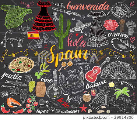 Spain hand drawn sketch set vector illustration 29914800