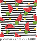 Water Melon Seamless Pattern Striped Vector  29914801