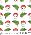 Cartoon Cute Mushroom Seamless Pattern Vector  29914807