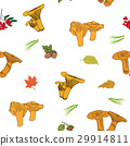 Mushroom hand drawn sketch Seamless Pattern Vector 29914811