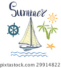 Summer Vector, Yacht, Anchor, Navy objects 29914822