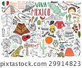 Mexico hand drawn sketch set vector  29914823
