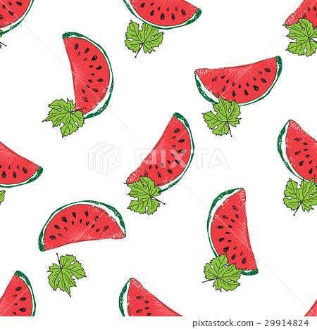 Water Melon Hand drawn Seamless Pattern Vector 29914824
