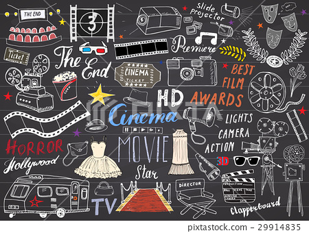 Cinema and Film Industry Set. Sketch, Vector 29914835