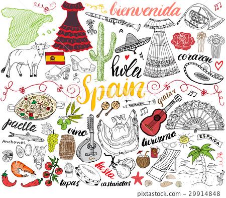 Spain hand drawn sketch set vector illustration 29914848
