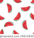 Water Melon Hand drawn Seamless Pattern Vector 29914849