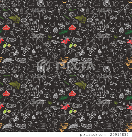 Mushroom hand drawn sketch Seamless Pattern Vector 29914853