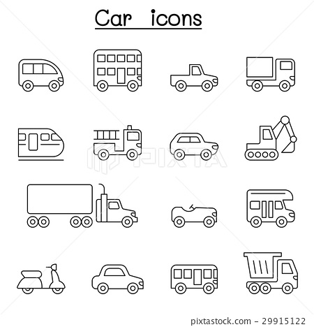 Car & Vehicle icon set in thin line style 29915122