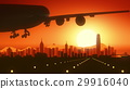 Hong Kong China Airplane Landing Skyline Golden 29916040