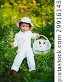 cute little girl with white rabbit 29916148