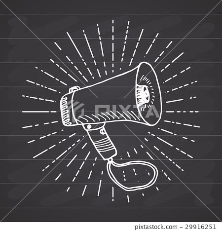 Bullhorn or megaphone, Sketch retro vintage Vector 29916251