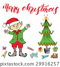 Merry Christmas lettering. Hand drawn vector  29916257