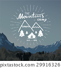 Mountains vintage label camping and hiking vector 29916326
