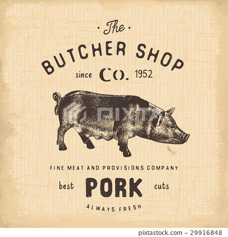 Butcher Shop vintage emblem pork meat vector 29916848