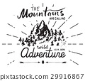 Mountains vintage label camping and hiking vector 29916867