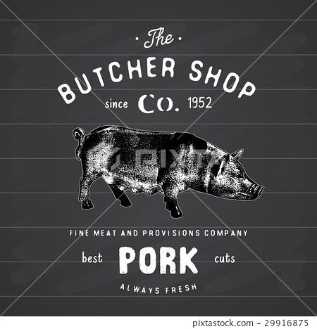 Butcher Shop vintage emblem pork meat vector 29916875