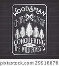 Lumberjack vintage label with axe and trees vector 29916876