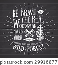 Lumberjack vintage label with axe and trees vector 29916877
