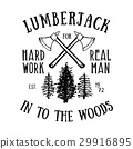 Lumberjack vintage label with axe and trees vector 29916895