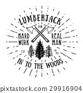 Lumberjack vintage label with axe and trees vector 29916904