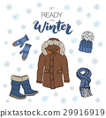 Winter season set doodle elements. vector 29916919