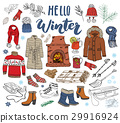 Winter season set doodle elements. vector  29916924