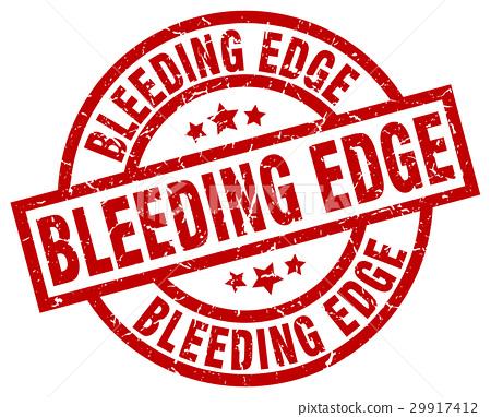 bleeding edge round red grunge stamp 29917412