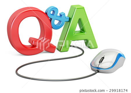 Q&A concept with computer mouse, 3D rendering 29918174