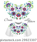 Floral pattern on collar, neck print. Abstract 29923307
