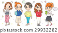 Illustration of a young women group (whole body) 29932282