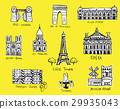 Paris city sights illustrations 29935043